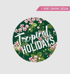 Tropical orchid flowers background graphic t-shirt vector