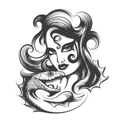 Woman head with snake vector