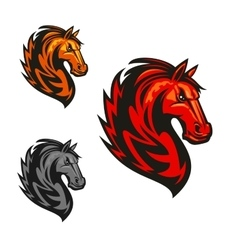 Horse stallion heraldic icons vector