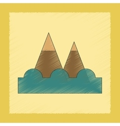 Flat shading style icon tsunami mountains vector