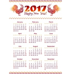 New year calendar greed with red fiery roosters vector