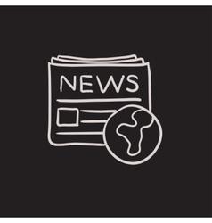 International newspaper sketch icon vector