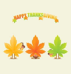 Happy thanksgiving turkeys disguised as maple vector