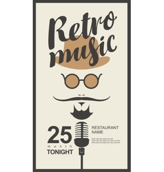 Man face with retro music in hipster style vector