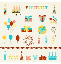 Happy birthday party icons set vector