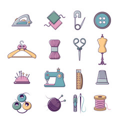 Tailor tools icons set cartoon style vector