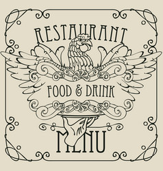 restaurant menu with the hand tray and chicken vector image