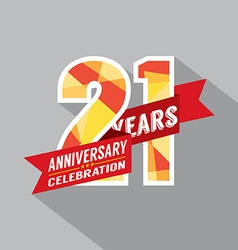 21th years anniversary celebration design vector