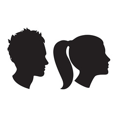 Woman and man head silhouette vector