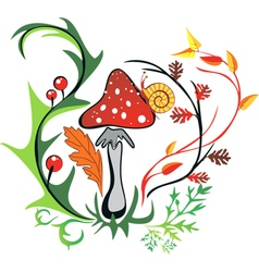 Amanita with snail surrounded by colorful leaves vector