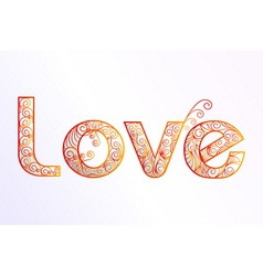 Floral love text vector