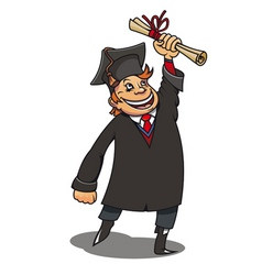 Smiling student with diploma for education concept vector