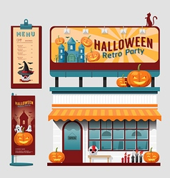 Restaurant halloween cafe set shop front design vector