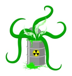 Barrel of toxic waste and green tentacles o vector