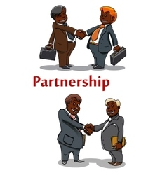 Business handshakes of happy businessmen vector