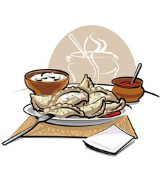 Dumplings with sauce and sour cream vector