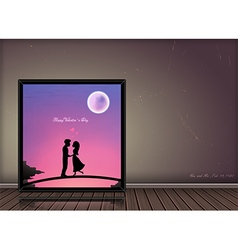 Valentine day love story concept in photo frame vector