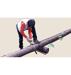 Woman saw logs vector