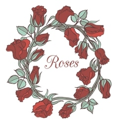 Decorative floral garland with roses vector