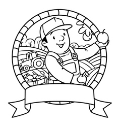 Funy farmer or gardener coloring book emblem vector