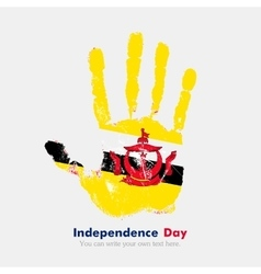 Handprint with the flag of brunei in grunge style vector