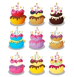 Happy birthday cake with numbers set vector