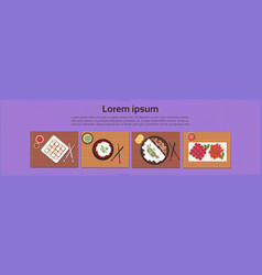 Asian food set sushi korean thai dishes top angle vector