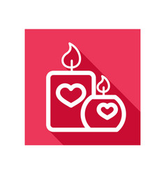 burning candle with hearts icon vector image