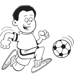 Cartoon African boy playing soccer vector image