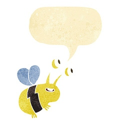 Cartoon happy bee with speech bubble vector