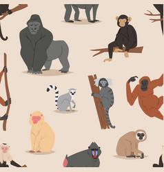 cartoon monkey character animal wild vector image