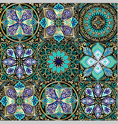 colorful floral seamless pattern from squares vector image