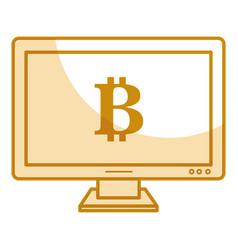 Computer with bitcoin symbol vector