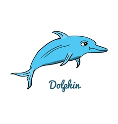 Cute cartoon dolphin vector