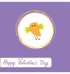 Cute orange bird happy valentines day vector
