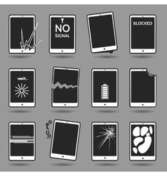 Damaged mobile phone set vector image
