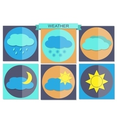Flat color weather icons vector image vector image
