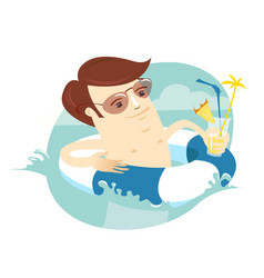 Funny man swimming in the sea with rubber ring vector