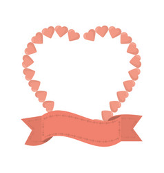 Heart ribbon decorative icon vector