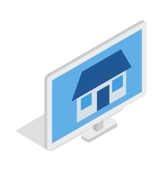 House on laptop screen icon isometric 3d style vector image vector image