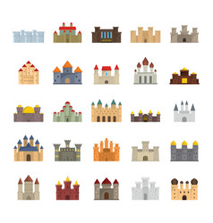 medieval castles flat icons set vector image