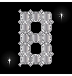Metal letter b gemstone geometric shapes vector