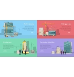 Modern building development building process vector