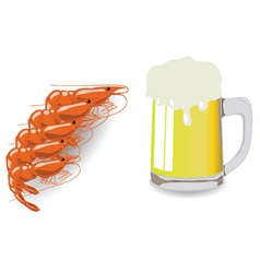 Mug of beer and shrimps vector