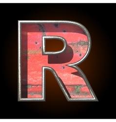 Old metal letter r vector