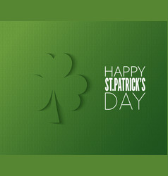 Patricks day cut paper logo on green background vector