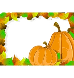 Ripe pumpkins and autumn leaves vector