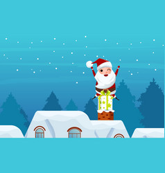 santa claus on gift box in the chimney on the roof vector image