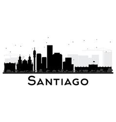 Santiago city skyline black and white silhouette vector