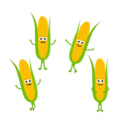 set with cartoon corn vector image vector image